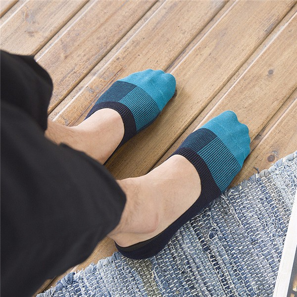 5 Pair Men Invisible No Show Non Slip Loafer Boat Ankle Low Cut Cotton Socks