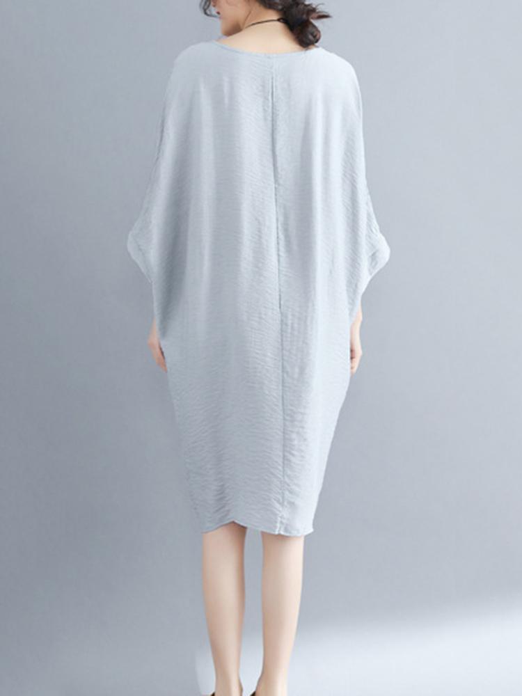 Women Batwing Sleeves Cotton Linen Mini Dress