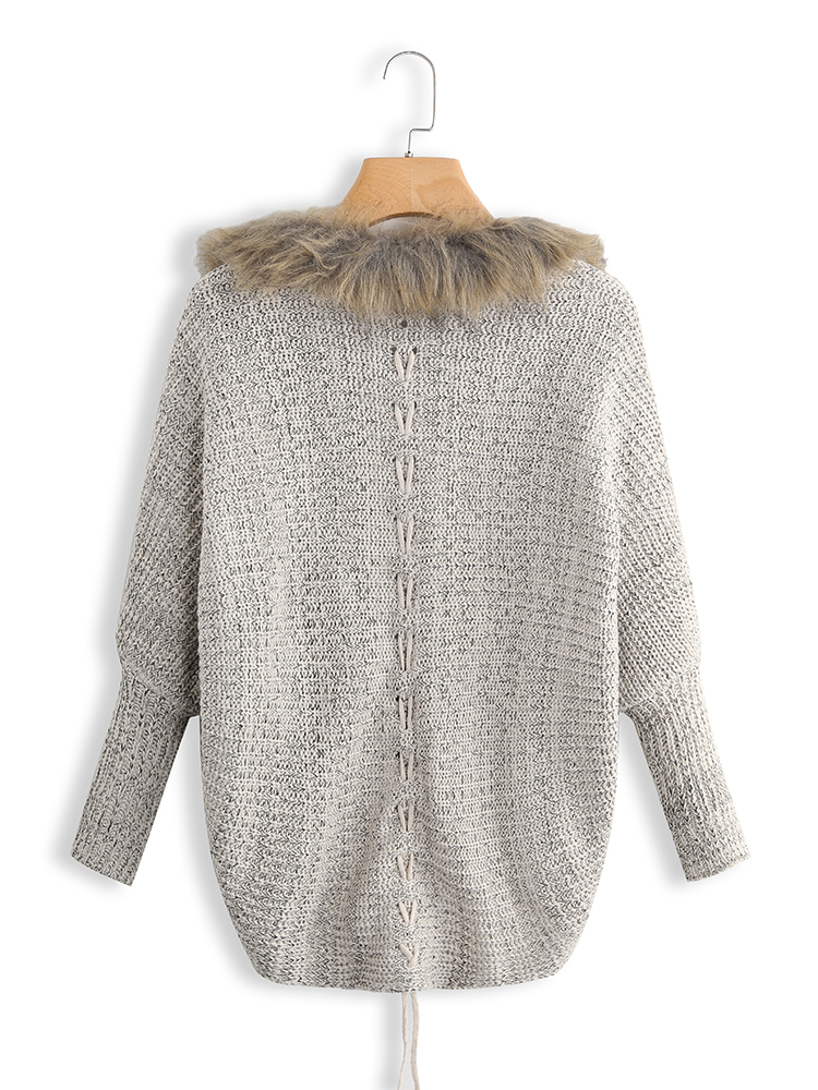 Oversized Fur Collar Batwing Sleeve Knit Cardigans Sweater
