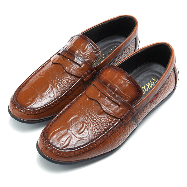 Men Comfortable Genuine Leather Driving Shoes Slip On Loafers Flats