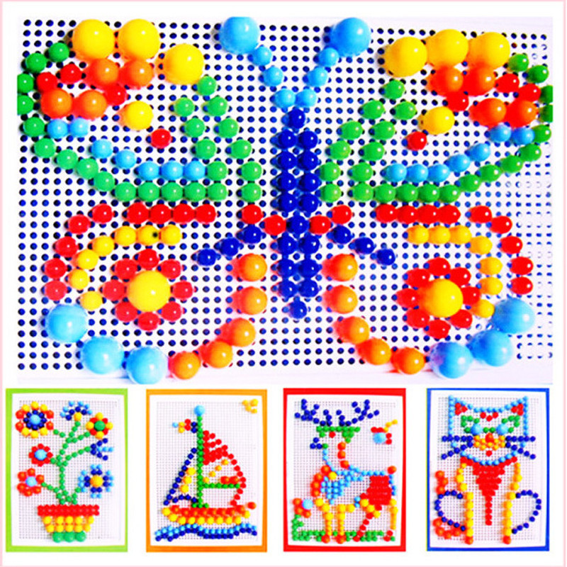 296PCS Portable Mosaic Nail Puzzle Peg Board For Kids Children Educational Toys Gift