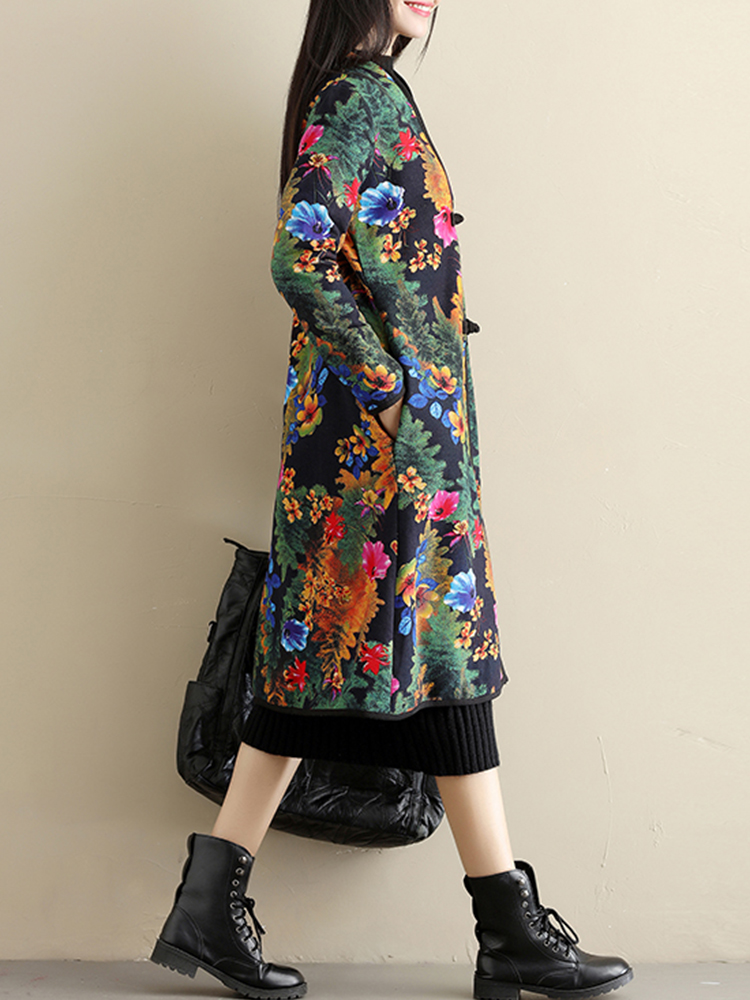Ethnic Women Printing Long Sleeve Chinese Style Winter Thicken Coats