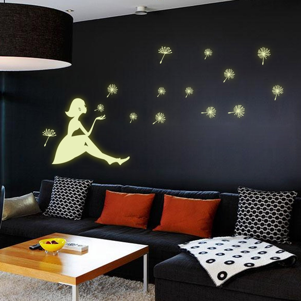 Dandelion Girl Stars Fluorescent Luminous Paste Stickers Night Light Living Room Bedroom Decorative Wall Sticker Can Be Removed DIY PVC Permanent Luminous Paste Stickers for Kids Rooms Festival Party