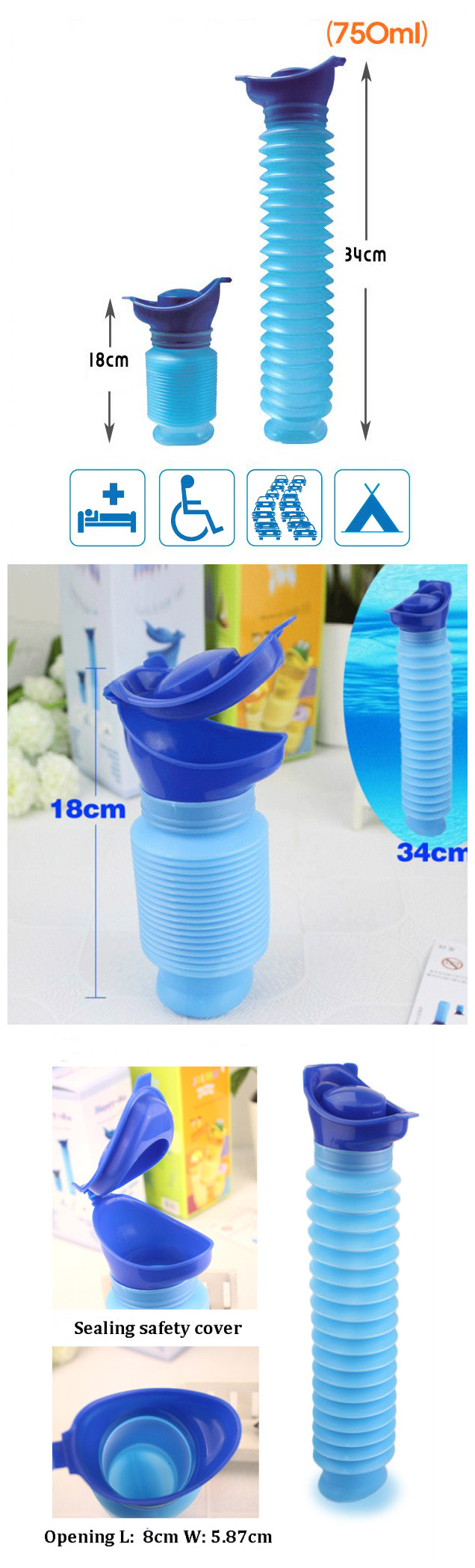 IPRee™ 750ml Portable Kids Toilet Convenience Potty Baby Urinal Boy Telescopic Emergency Pee Bottle