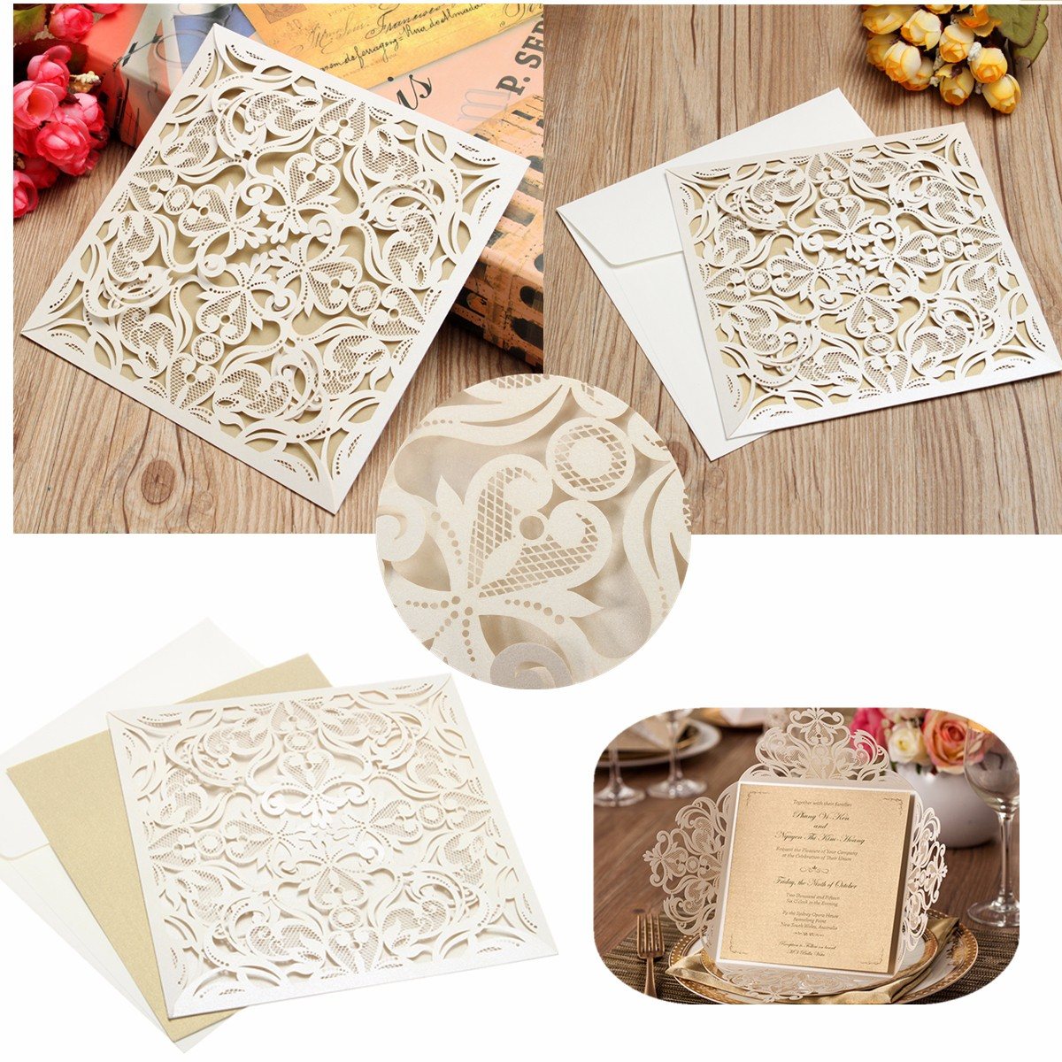 1 PCS Square Laser Cut Hollow Out Wedding Evening Invitations Cards Envelopes Seals