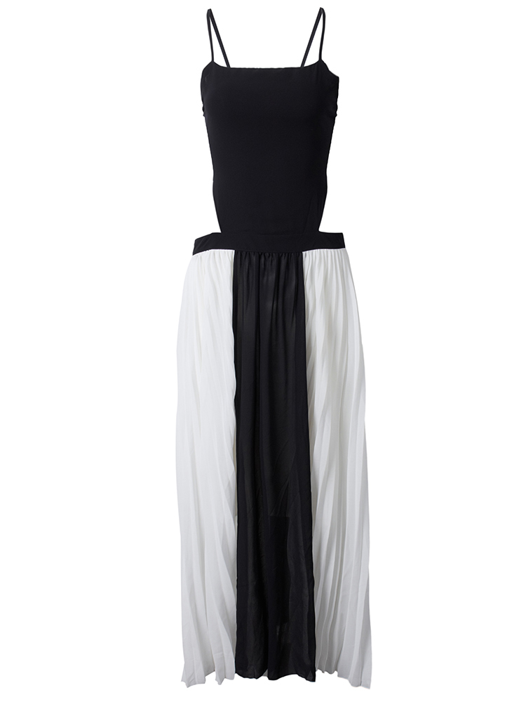 Sexy Women Strap Backless Pleats Chiffon Maxi Party Dress
