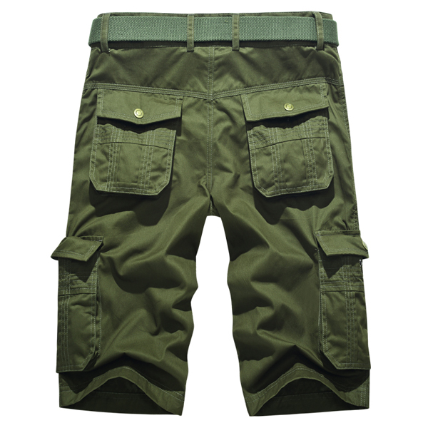 Mens Plus Size Summer Cotton Casual Outdooors Bermudas Multi Pocket Military Cargo Shorts