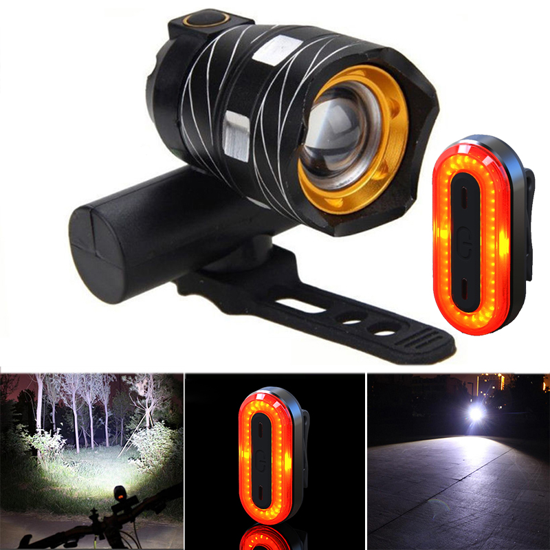 XANES ZL01 800LM T6 Bicycle Light 3 Modes Waterproof and STL03 100LM IPX8 Bicycle Taillight Set
