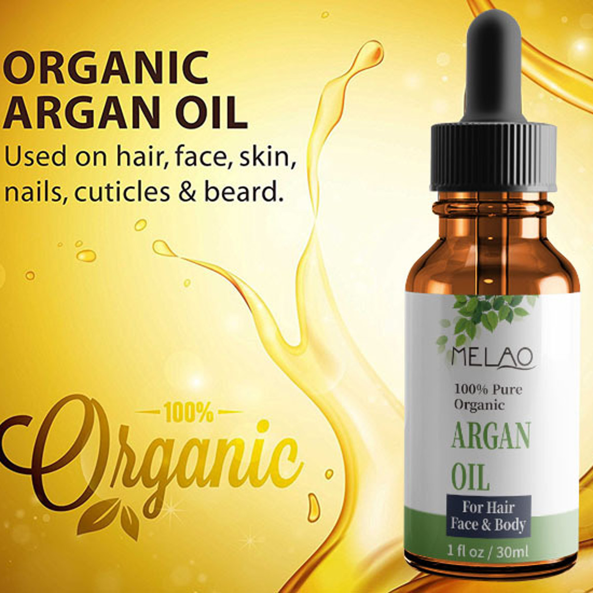 MELAO Pure Organic Essential Oil Hair Care Massage Body Care Beard Grooming Moisturizer 30ml