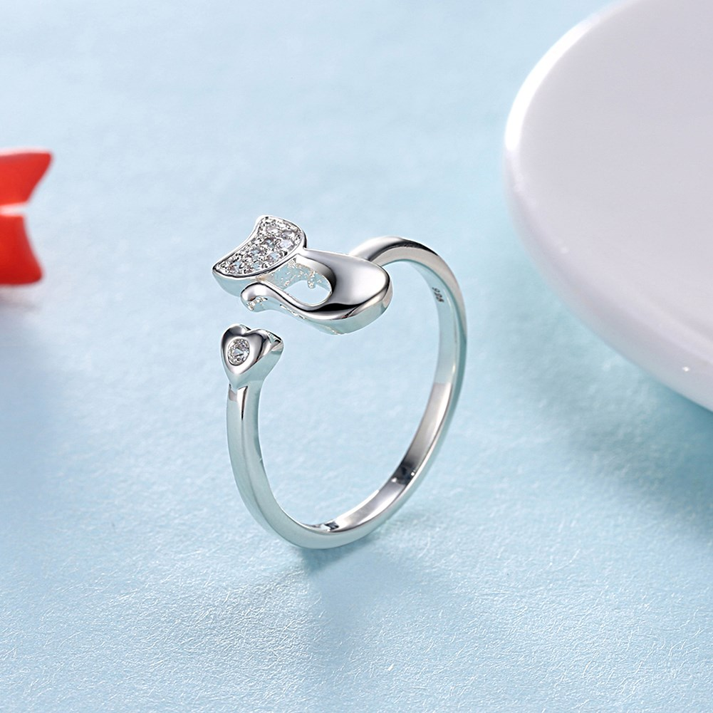 YUEYIN Fashion Opening Ring Silver Plated Cat Romantic Heart
