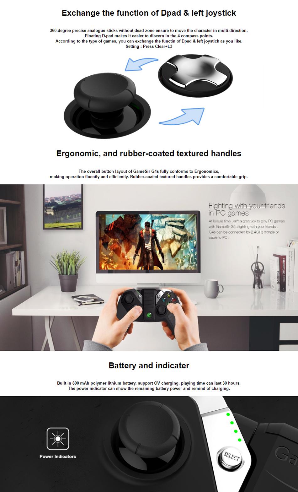 GameSir G4S Bluetooth 2.4G Wireless USB Wired Gamepad Game Controller Joystick