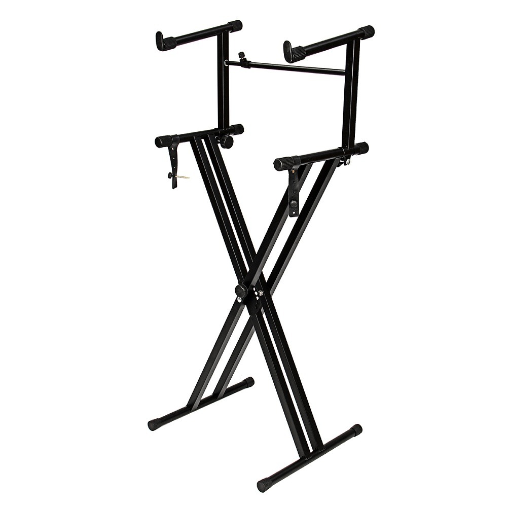 2 Tiers X Style Adjustable Keyboard Stand Folding Electronic Piano Holder