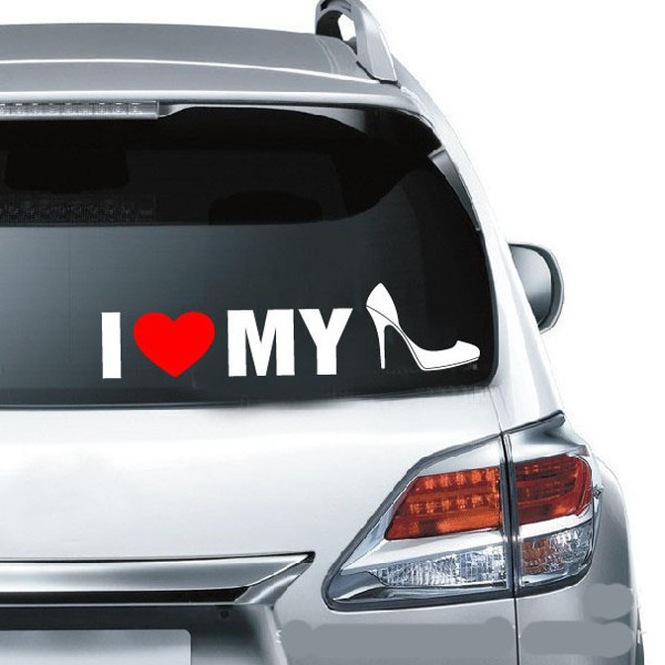 I Love My Shoes Reflective Warning Label Car Stickers Auto Truck Vehicle Motorcycle Decal