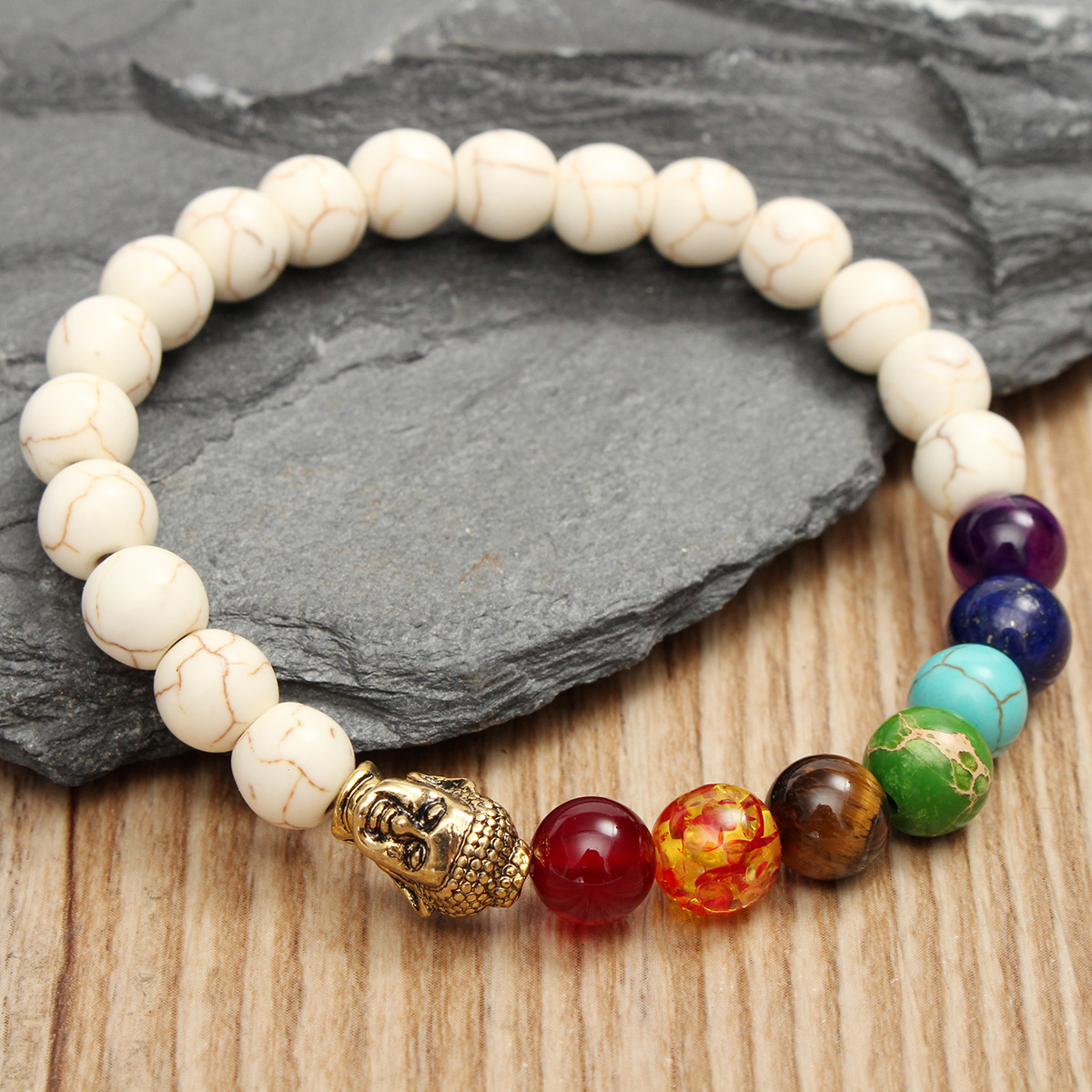 Unisex White Stone Agate Colorful Beads Prayer Elastic Bracelet