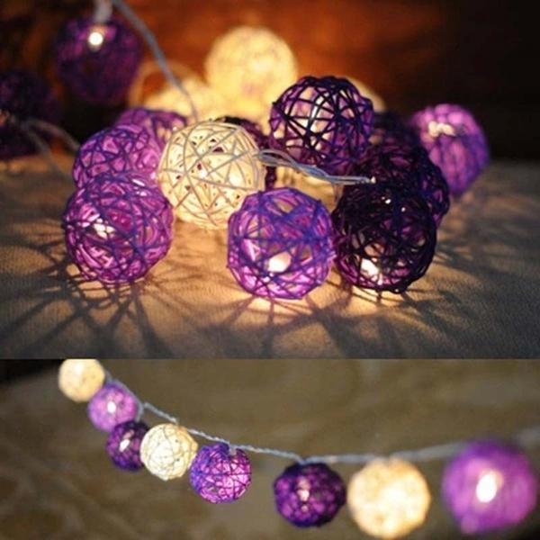 20 LED Rattan Ball String Light Home Garden Fairy Lamp Xmas Wedding Party Decor