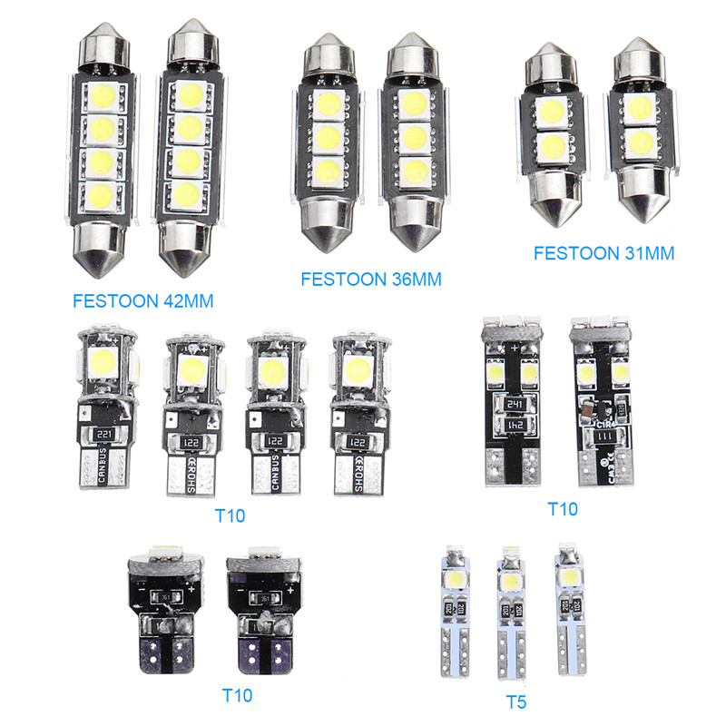 T10 T5 White Car Interior LED Lamp Replacement Bulb Reading Dome Lights for BMW E90 E91 E92 3 Series