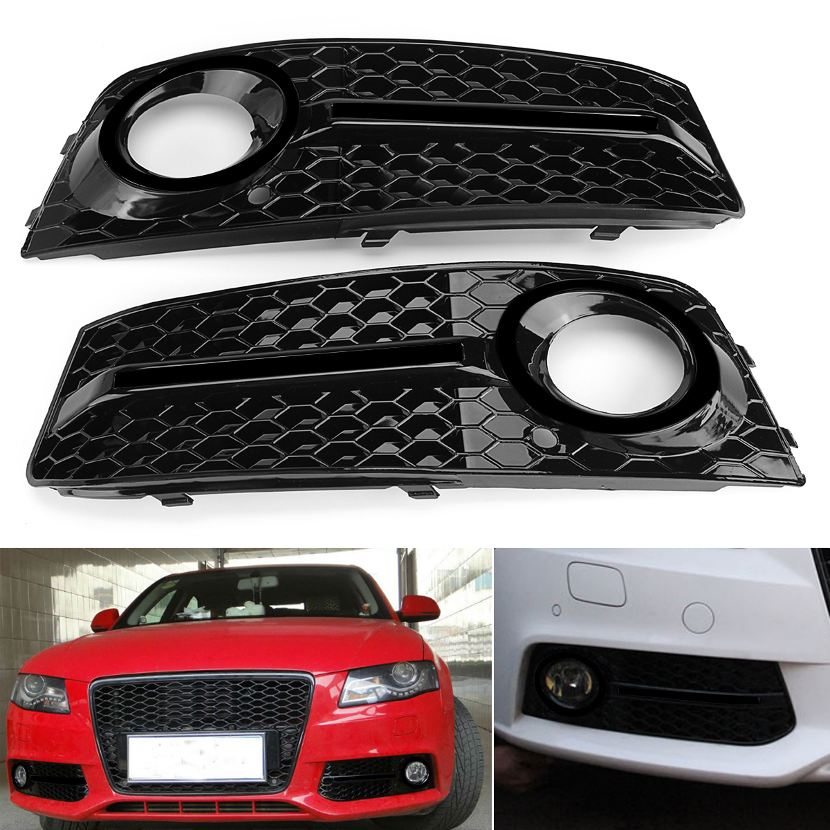 Car Front Fog Light Cover Grille Grill Glossy Standard Style Pair for Audi A4 B8 2009-2011