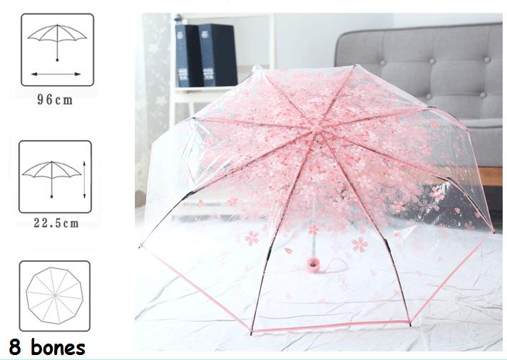 PEVA Romantic Cherry Blossoms Transparent Umbrella Folding Umbrella Sun Rain Gear