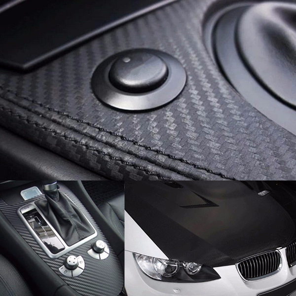 50cmx127cm 3D Black Carbon Fiber Vinyl Car Wrap Sheet Roll Film Sticker Decal