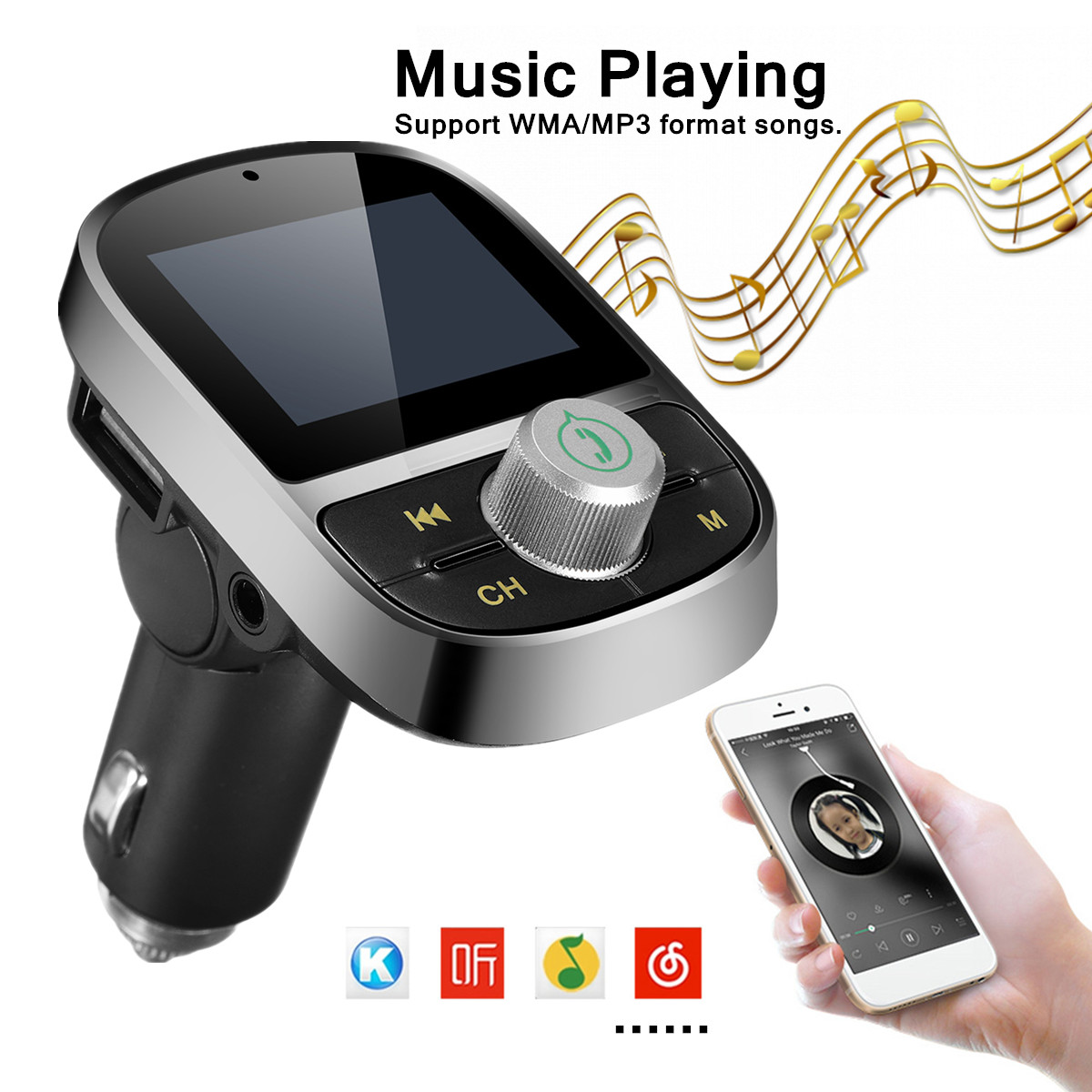 New Bluetooth Fm Transmitter Wireless Radio Adapter Mp3 Player Usb For Mobile Phones Car Charger Phone