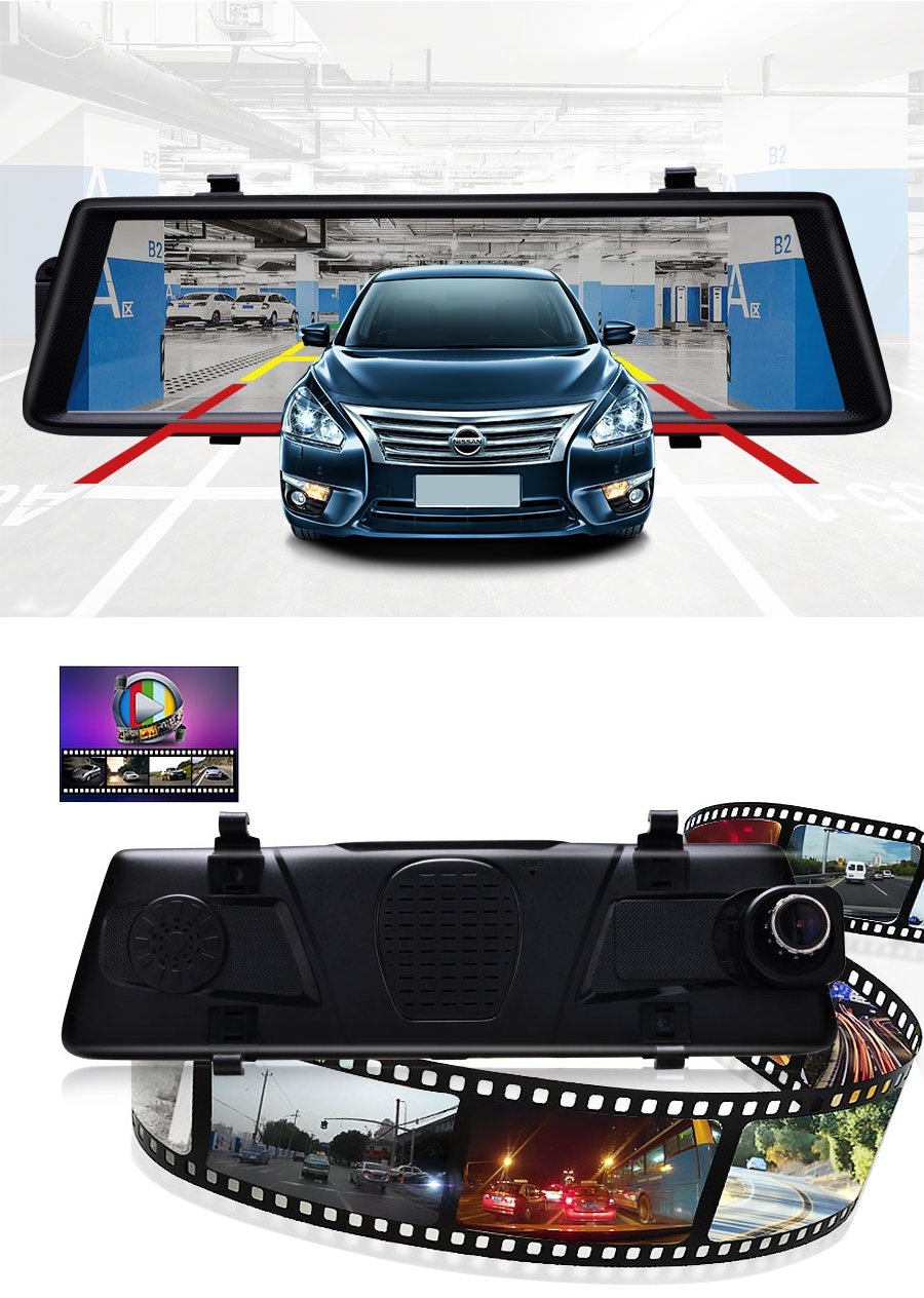 Junsun A900 Car DVR Camera Mirror 3G 10 Inch Full Touch Android 5.0 Quad Core GPS WiFi Dual Lens