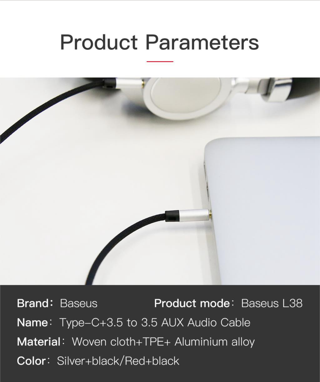 Baseus L38 2 in 1 Type-C 3.5mm to 3.5mm AUX Audio Cable Adapter 1.2m For OnePlus 5 S8 Xiaomi 6