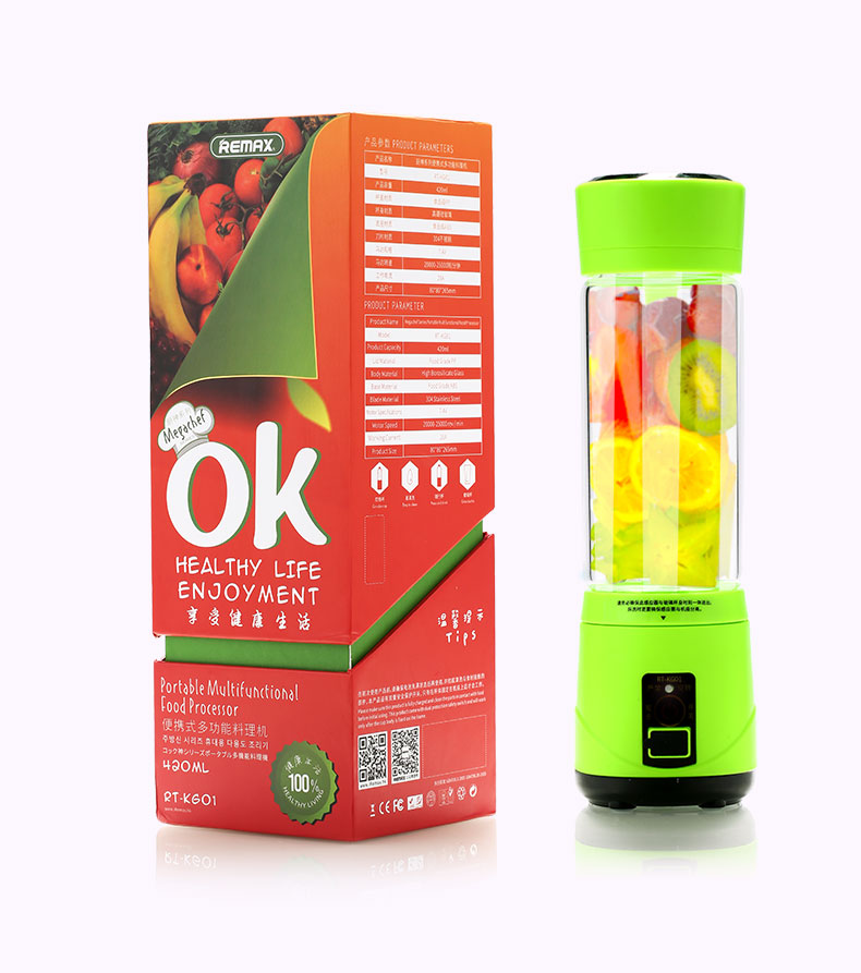 REMAX 500ml Handheld Double Power USB Electric Fruit Juicer Portable Electrical Smoothie Maker Blender Borosilicate Glass Bottle Cup
