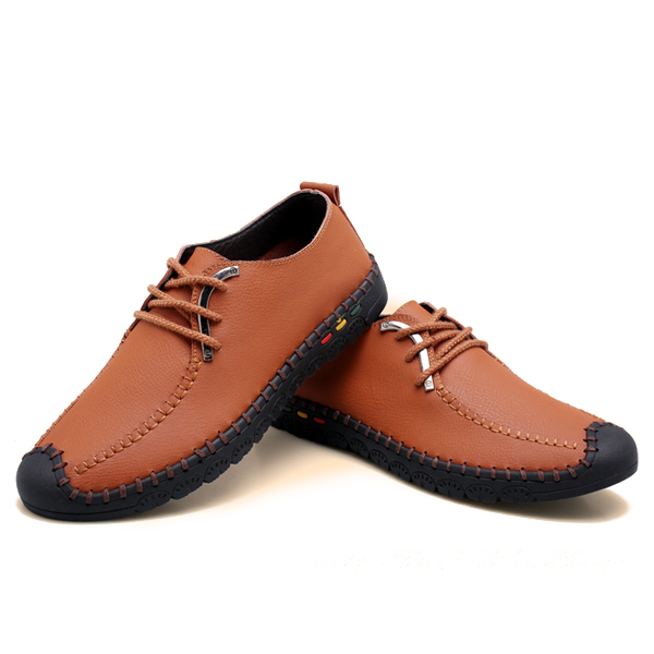 Lace Up Soft Leather Breathable Oxfords Round Toe Formal Business Shoes