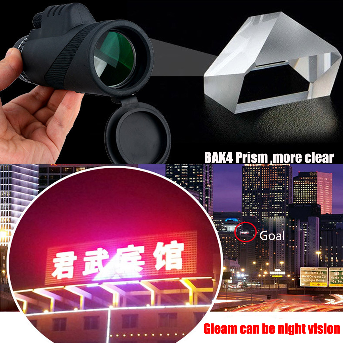 40x60 Ultra HD Optical Lens Monocular Low Light Night Vision Telescope + Clip + Tripod For Phone