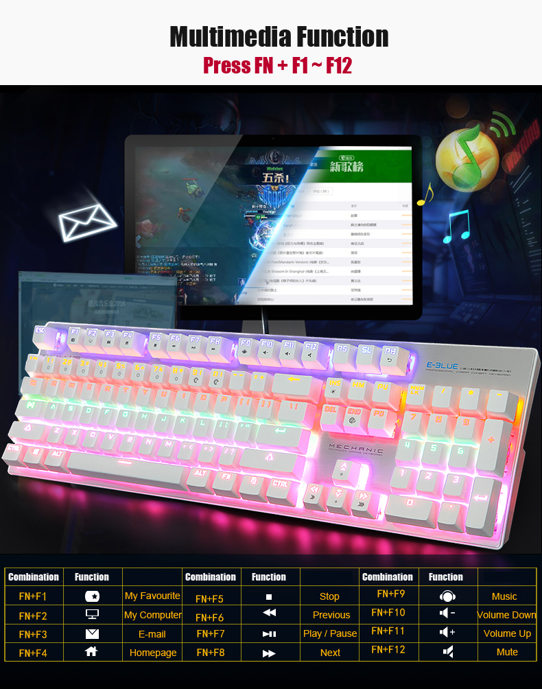 E-Blue K753 Mixed Backlit 104 Key USB Wired NKRO Mechanical Gaming Keyboard Black Blue Switch