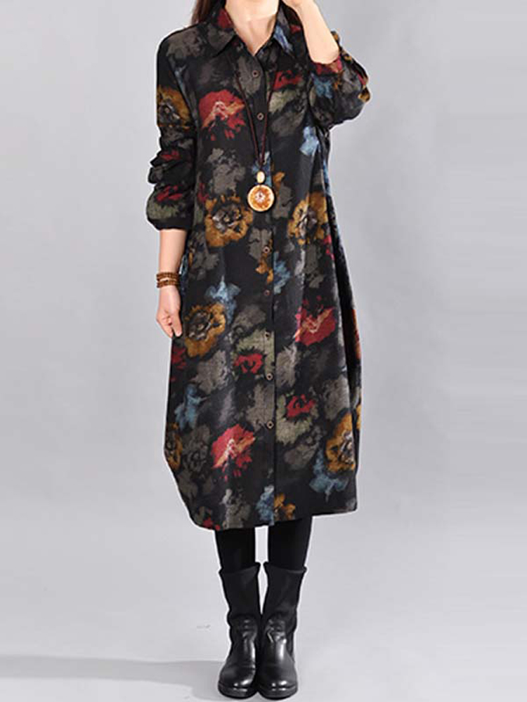 Women Floral Printed Button Down Lapel Casual Shirt Dress