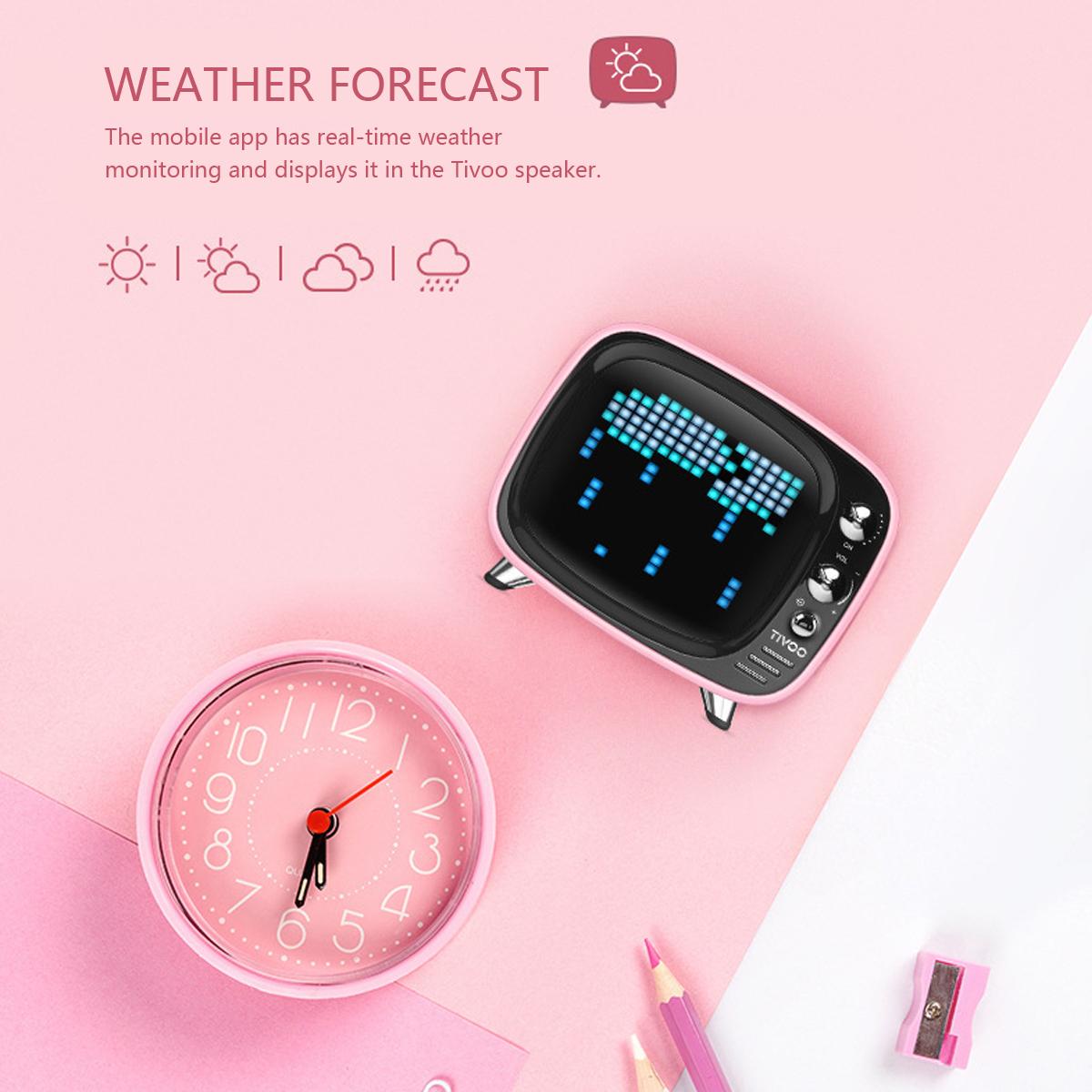Divoom Tivoo Wireless bluetooth 5.0 Retro TV Speaker Portable TF Card Small Alarm Clock Mini APP Small Stereo Speaker