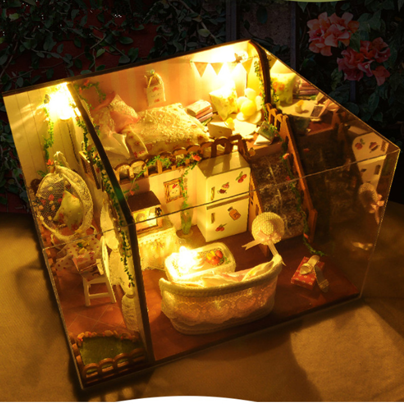 T-Yu TD10 Spring Flowers House DIY Dollhouse With Light Cover Miniature Model Gift Collection Decor