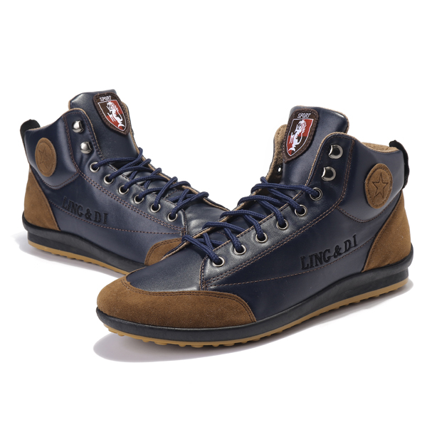 Comfy Men Leather High Top Sneakers