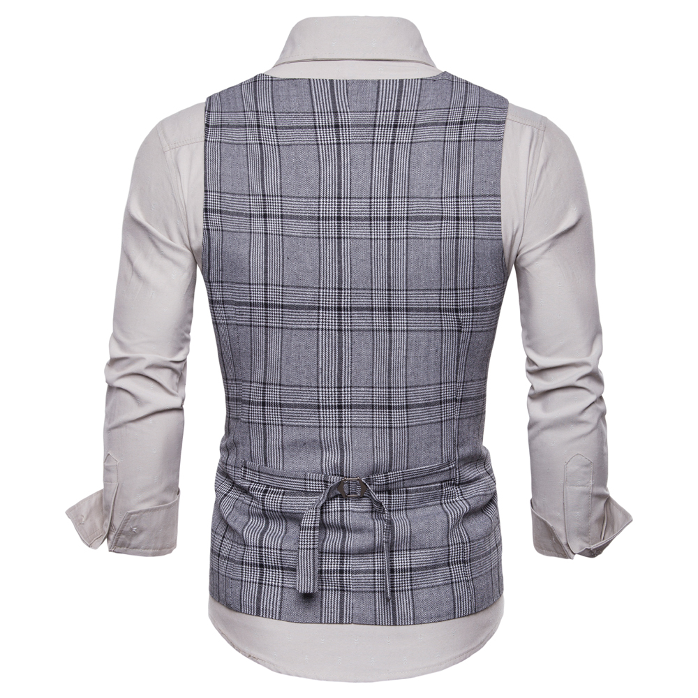 Fashion Business Plaid Waistcoat Suit Vest for Men