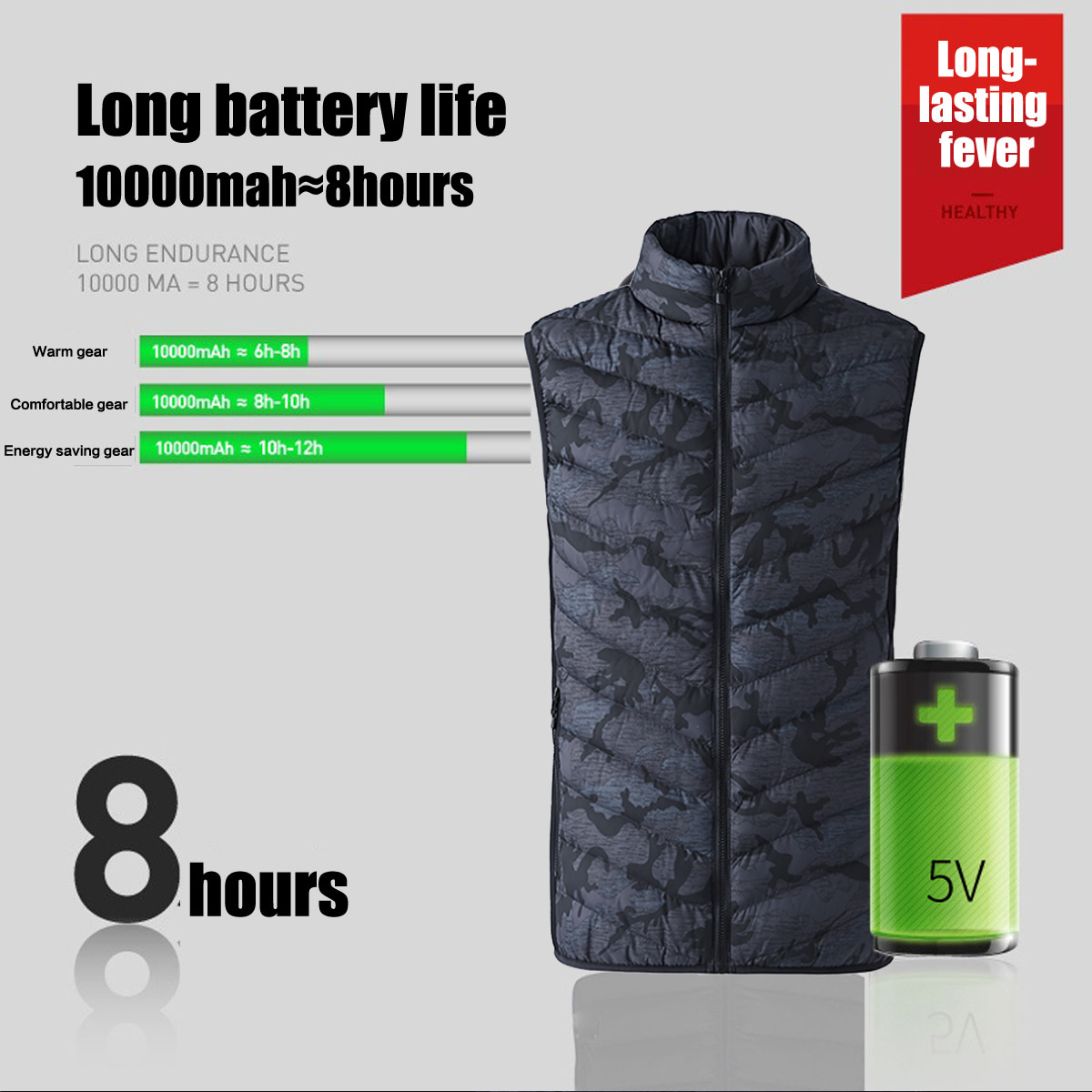 Unisex USB Electric Warm Back Cervical Spine Hooded Winter Heating Vest Coat Jacket Thermal