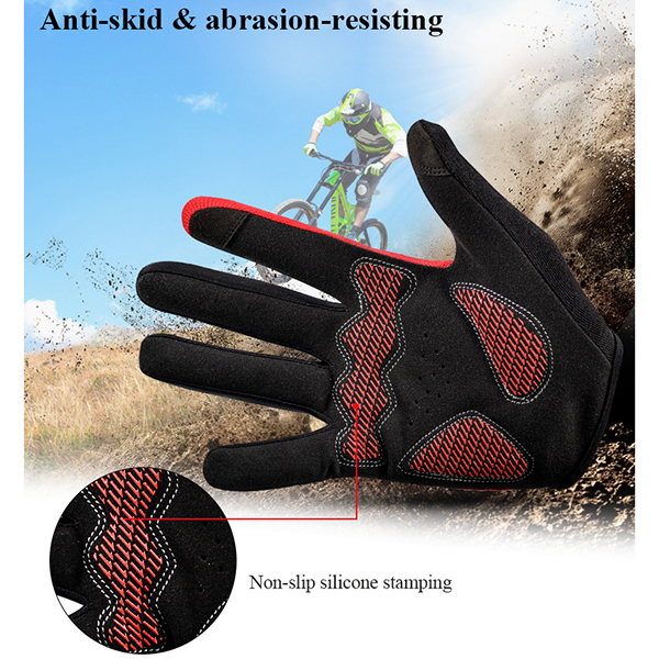 Wheelup Mens Riding Breathable Non-Slip Gloves Outdoor Soprts Touch Screen Full Fingers Mittens