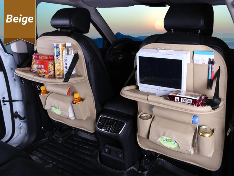 Microfiber Leather Car Seat Back Foldable Food Table Storage Bag Multi-functional Phone Organizer