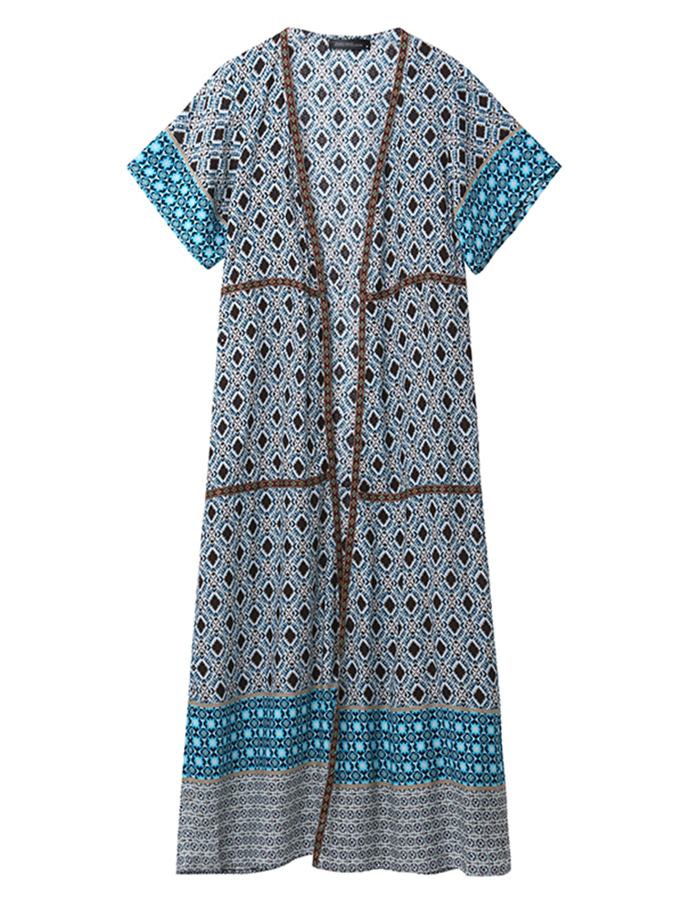 Casual Loose Women Geometric Printed Short Sleeve Beach Long Cardigans