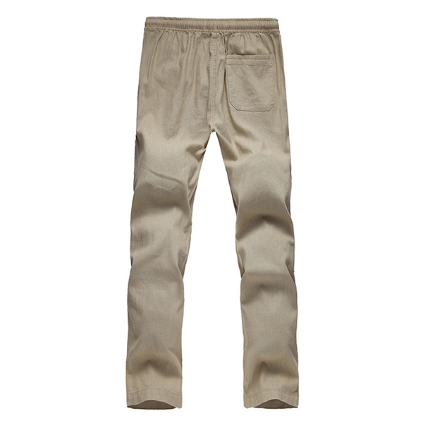 Loose Linen Trousers Pure Color Soft Flax Long Pants