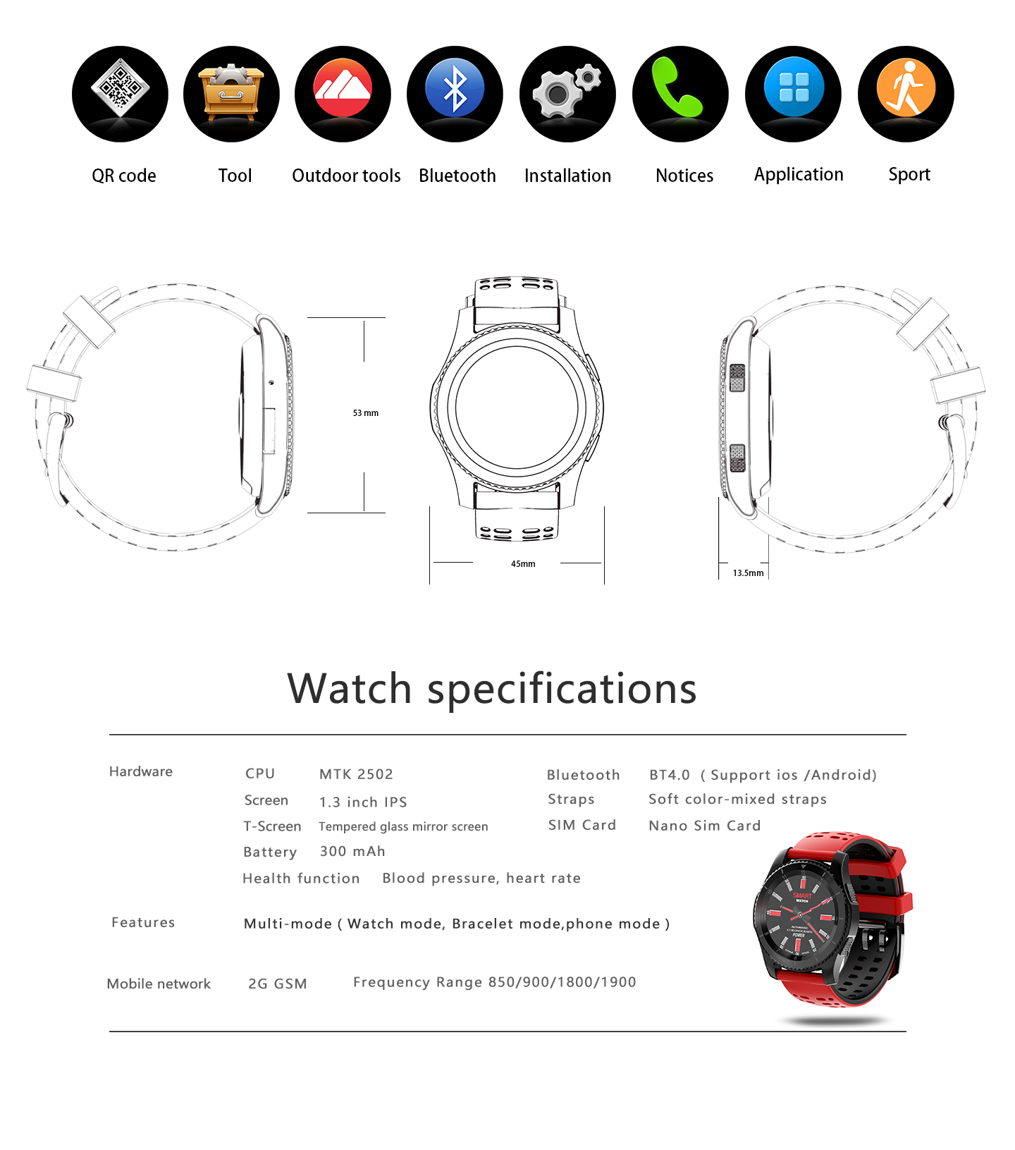 NO.1 GS8 G8 MT2502 Blood Pressure Heart Rate Monitor GPS GSM Smart Watch For Android IOS