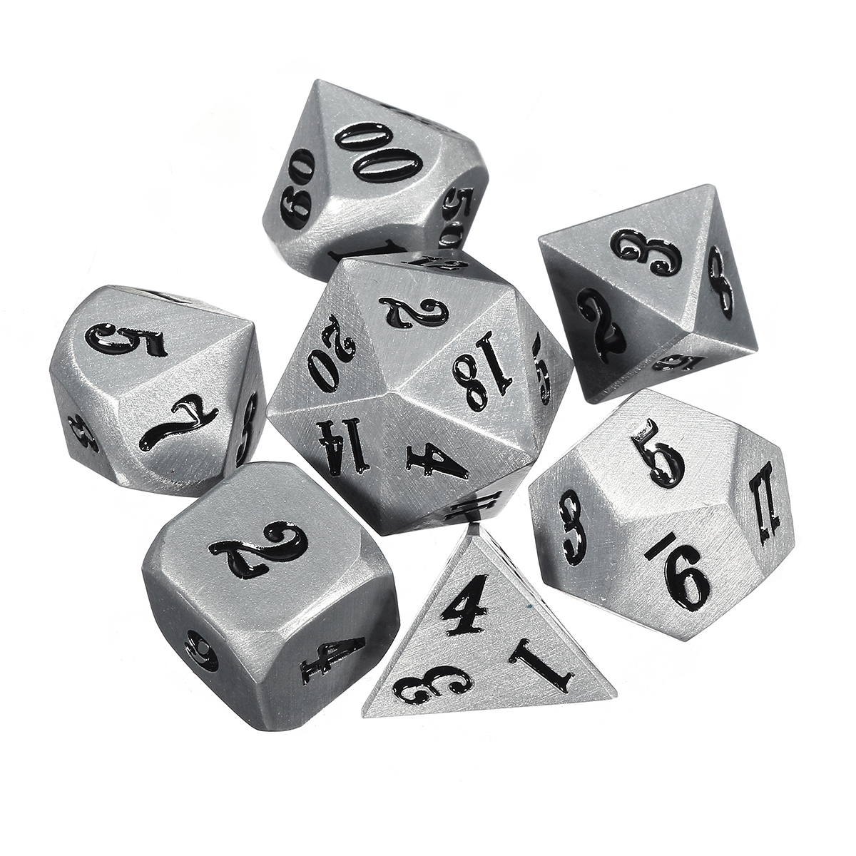 7Pc Solid Metal Heavy Dice Set Polyhedral Dices Role Playing Games Dice Gadget RPG