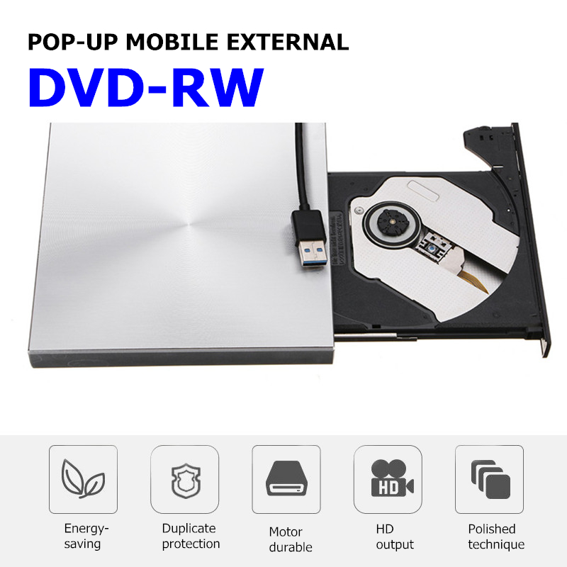 Portable External Slim USB 3.0 Pop-Up DVD-RW/CD-RW Burner Recorder Optical Drive