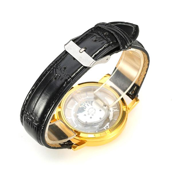 Roman Business Casual Hollow PU Strap Analog Wrist Watch