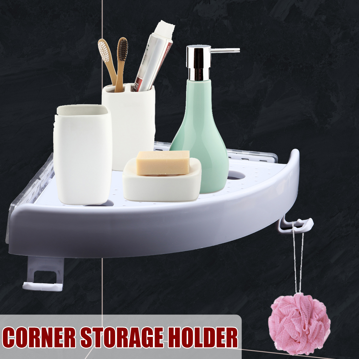 Bathroom Shower Corner Storage Paper Shelf Holder Shower Caddy Holder Rack White Organizer
