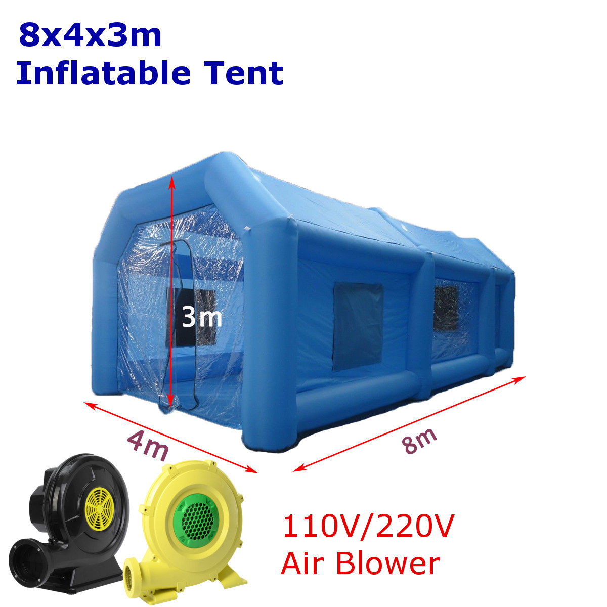 220V Inflatable Paint Spray Booth Car Workstation Tent with Air Blower + Repair Kits