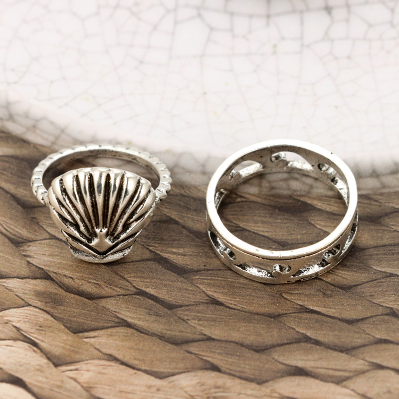 5Pcs Bohemian Cocktail Ring Set Vintage Shell Hollow Flower