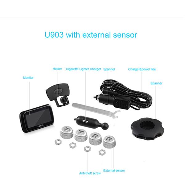 Careud U903 Car TPMS 4 External Sensors Tyre Pressure Monitoring System Diagnostic Tool PSI/BAR