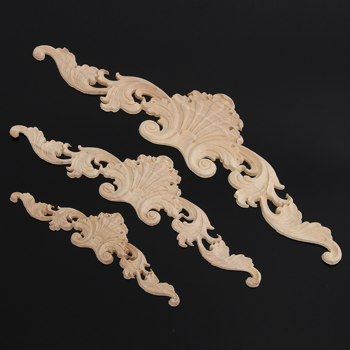 Wood Oak Carving Applique Unpainted Flower Applique Door Corner Decoration Onlay Furniture Cabinet