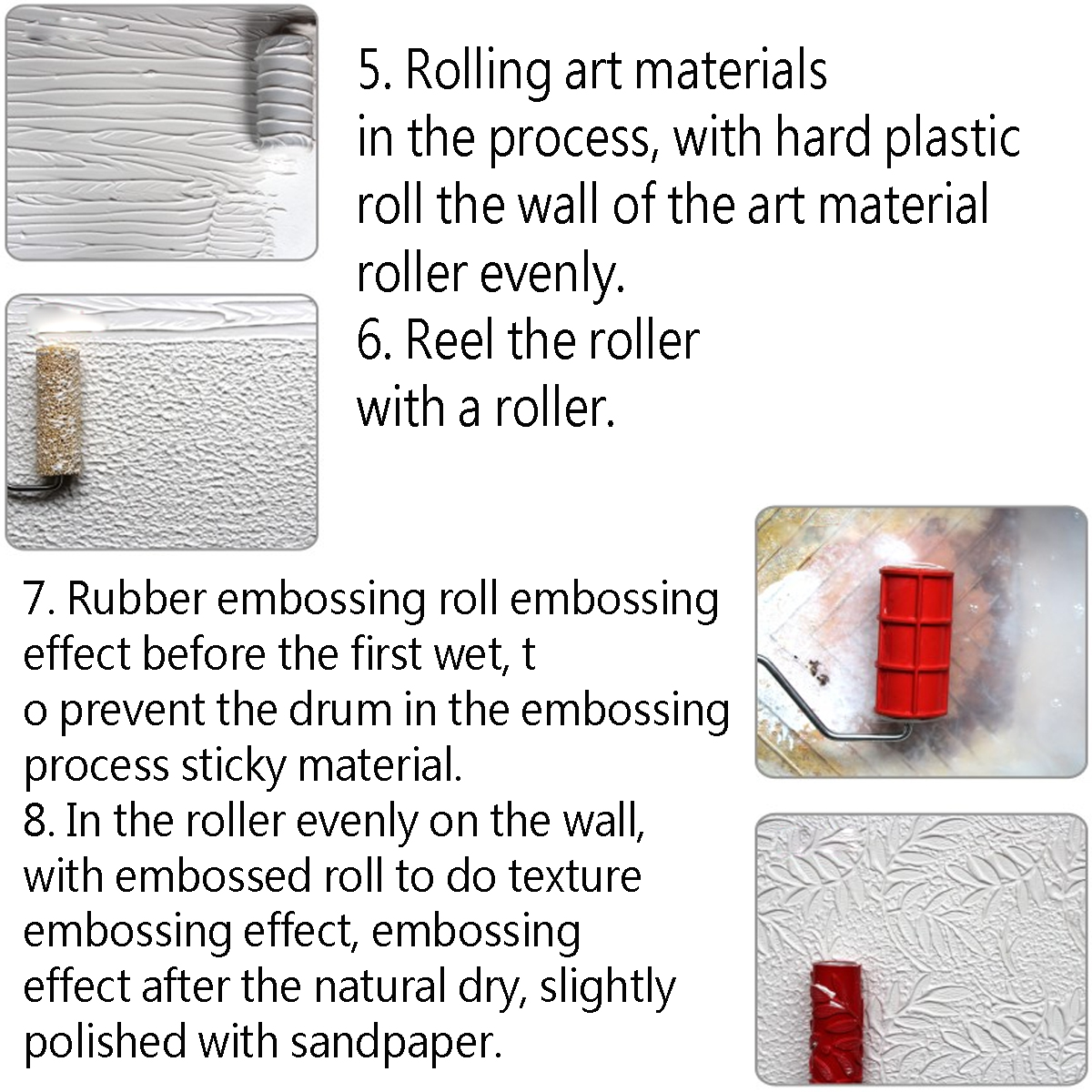 7 Inch Flower Embossing Paint Roller Painting Brush Handle Wall Decor Tool